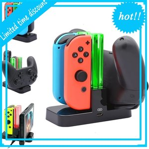 4 in1 شحن قفصان الفرح كون تحكم شاحن LED ل Nintendo Pro Gamepad Charge Stand Switch Lite