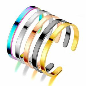 Простой пустой браслет из нержавеющей стали золото черный открытый регулируемый браслет браслет для женщин мужчины мода ювелирные изделия будут и песчаный подарок