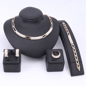 Women African Beads Jewelry Sets Cz Crystal Enamel Necklace Earring Ring Bracelet Jewelry Set Gold Color Statement Accessories Z1201