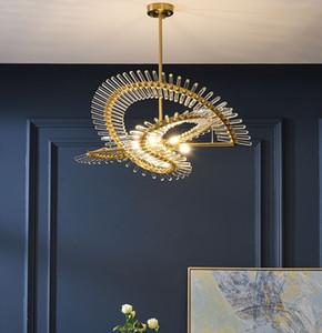 Postmoderno LED LED Cristal Chandelier Nórdico Creativo Sala de estar Luces colgantes Decoración de hotel Lámparas Restaurante Iluminación redonda
