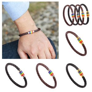 Gay Woven Leather Bracelet Rainbow Colorful Fashion Copper Magnetic Clasp Wristband Jewelry Men and Women Party Gifts w-00489