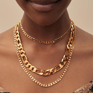 Hip Hop 3 Piece Set Heavy Metal Style Multi-Layered Chain Necklace With Women Men Punk Rock Pendant Necklace Set Gothic Jewelry