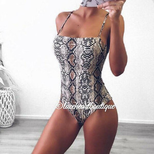 Sexy Léopard Imprimer Body Body Skinny One Morceau BodySuits Femmes 2020 Été Sling Sans Manches Snake Snake Swake Swake Sheer Jumpsuit Dame