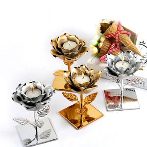 Nordic Candles Holder Plating Silver Gold Lotus Rose Shape Candlestick Valentine Wedding Festival Home Tealight Candles Decor