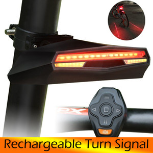 LED Laser Bicycle Turn Signal Wireless Remote steering lamp Rear Bike Light USB Rechargeable Bicycle Taillight MTB Warning 201125