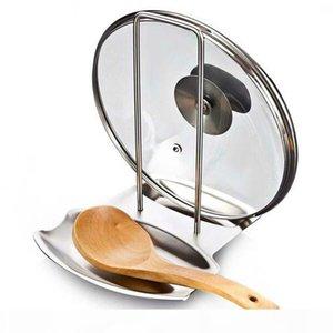 Accessoires de cuisine Couvercle Pot en acier inoxydable étagère de cuisine Organisateur Pan Couvercle Couvercle Rack, support éponge cuillère Porte-vaisselle