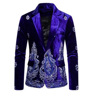 Men's Clothing Business Suit Velvet Embroider Coat Men Cloth for Marriage Blazer Suit Set Coat Asia Small Size