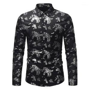 Весна осень мужская осень зима роскошная мода лацкан печатает с длинным рукавом рубашка верхняя блузка падение Dross1