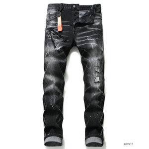 Mens Designer Jeans Black Luxury Ripped Skinny Biker Moto Pants Pour Cool Hommes Men S Hip Hop Denim Rock Nueva llegada