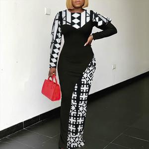 Women Print Dresses Patchwork Black White Block Color Long Sleeve Bodycon Maxi Retro Elegant Fashion Modest Female Vestidos Robe