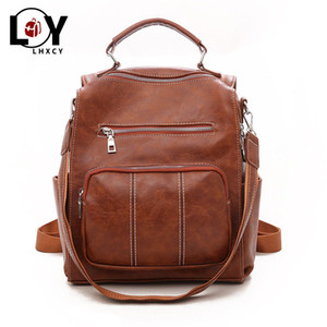 Vintage Pu Leather Multiple Pockets Bag For Women High Capacity Waterproof Briefcase Korean Version High Quality Backpack Purse 201130