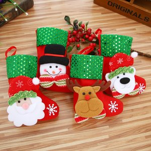 2021 Mini Christmas Hanging Socks Cute Candy Gift bag snowman santa claus deer bear Christmas Stocking for Christmas Tree Decor Pendant