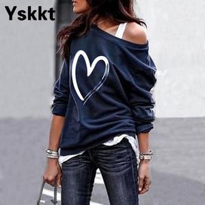 Yskkt Mulheres Pullover Moletom Coração Impresso Manga Longa Uma Ombro Tops Outono Inverno Sweate Camisas Casual