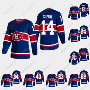 Montreal Canadiens # 14 Nick Suzuki 2020-21 Reverse Retro Hóquei Jersey Patrick Roy Brendan Gallagher Carey Preço Shea Weber Jonathan Drouin