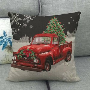 Hand Red Truck Christmas Tree Cushion Cover And Sofa Pillow Case Home Decorative Pillow Cover 45cm*45cm