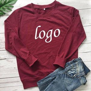Customer Customize Women Letter Print Sweatshirt Customize Logo O Neck Harajuku Hoodie Autumn Winter Womens Clothing Dropship