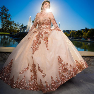Rose Gold Pink Sweet 16 Quinceanera Dress Sequined Sparkly Lace Pageant Party Dress Ball Gown Mexican Girl Birthday Gown