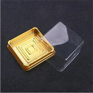 50sets=100pcs Mini Size Black&Gold Bottom Plastic Cake Dome Container Wedding Favor Cupcake Boxes Supplies DHL Free