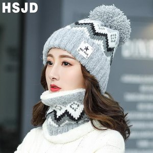 2020 New Winter Hat for Women 2 Pieces Set Knitted Beanie Hat Girls Ladies Wool Scarf Caps Thick Warm Skullies Beanies Female Cap