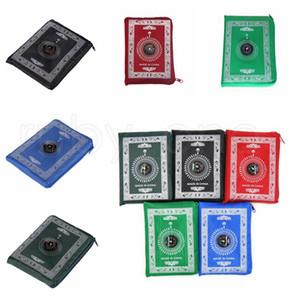 Islamische Gebetsdecke Tragbare geflochtene Matte Tragbare Reißverschluss Kompass Decken Tasche Teppiche Muslimische Gebet Teppiche Muslimische Anbetung Decke RRB2816