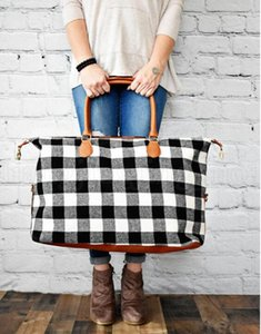 Buffalo Check Handbag Red Black Plaid Bags Large Capacity Travel Tote With Pu Handle Storage Mate wmtfBC dh_garden