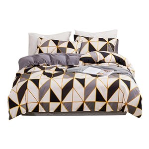 3pcs Bed Sheet Washable Comfortable Geometric Printed Soft Pillow Cases Home Textile Duvet Cover Set Bedding With Zipper Closure