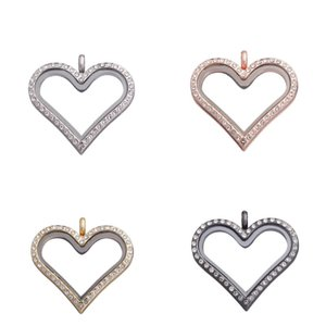 New 10pcs lot Heart shape with Rhinestones plain floating charms locket glass living memory lockets pendant for necklace