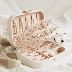 Protable Leather Jewelry Storage Box Earrings Ring Necklace Case Jewel Packaging Travel Cosmetics Beauty Organizer Container Box LJ200812