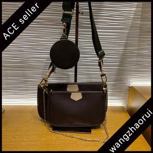 Высочайшее качество Multi Pochette аксессуары Crossbody сумки кожаные композитные сумки холст на плечо женщины три в одной сумочке с коробкой B003