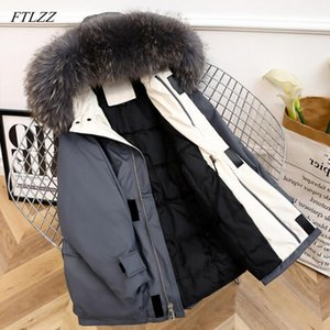 FTLZZ Large Natural Fur Winter Women White Duck Down Jacket Long Down Coat Hooded Outwear Warm Thick Parka