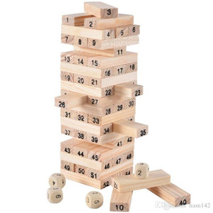 Wholesale-Wooden Tower Wood Building Blocks Toy Domino 54pcs Stacker Extract Building Educational Jenga Game Gift 4pcs Dice 001