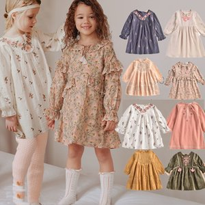 EnkeliBB French Romance Baby Autumn Winter Dresses Brand Child Girl Vintage Tutu Dress Quality Embroidery Girl Dress Full Sleeve Q1118 Q1118