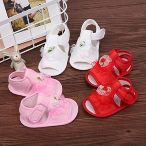 Baby Girls Shoes 3Color Newborn Infant Baby Girls Crib Shoes Soft Sole Anti-slip Sneakers Flower 18Jun12