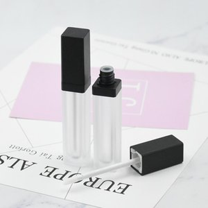 6ML Forma cuadrada Frosted Lip Tube Tube Lip Gloss con tapa negra para aceite de labio / Lip Gloss Cosmetic Embalaje OWD3125