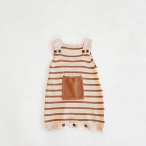 Bebek Yelek Romper Sonbahar Cep Çizgili Suspender Bebek Örme Yün tek parça Suit Çanta Fart Romper