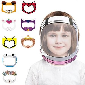 Cartoon Face Shield Anti-fog Isolation Mask Full Face Protective Mask Transparent PET Anti-splash Droplets Head Cover AHA2569