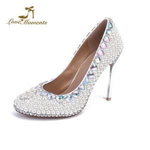 2020 اليدوية أبيض اللؤلؤ الزفاف فستان الزفاف أحذية جميلة تصميم الصلب كعب المرأة مضخات حفل التخرج مضخات