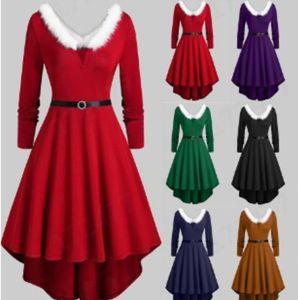 2020 new hot fation designLarge women's Plush V-Neck long sleeve dress