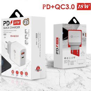 Быстрая зарядка PD Type USB C 18W Зарядное устройство с QC3.0 Adaptive Fast USB Мобильный телефон Двойной порта Настенный адаптер на стене для iPhone 12 Samsung S20 S10 S10