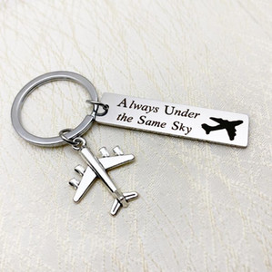Always Under The Same Sky Couple Long Distance Love Women Keychain Jewelry Color Choose Keyrings Bag Charm Keepsake Key Holder