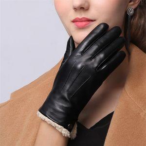 Genuine Leather Gloves Female New Winter Lamb Cashmere Sheepskin Woman Gloves Short Style Plus Velvet Thicken Keep Warm LJ201215