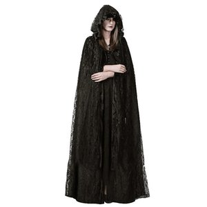 Punk Gothic Women's Lace Long Cloak Long Sleeve Witch Cape Black Hooded Outwear Holloween Costume