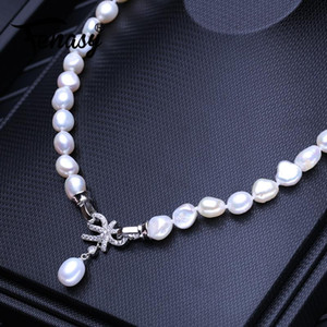 FENASY Natural Freshwater Pearl Necklaces For Women Handcrafted Baroque Long Necklace Wedding Jewelry Neck Accessories