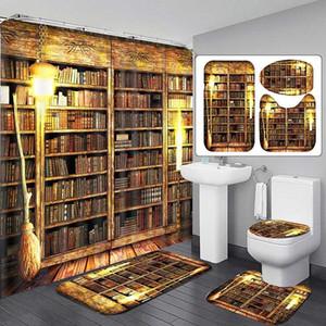 180x180cm Old Retro Study Wooden Bookshelf Pattern Bathroom Shower Curtain Anti-Slip Kitchen Bath Mat Toliet Rug Bathroom Set