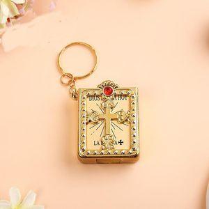 Religious Mini Small Holy Bible Book Keychain Jesus Cross Keyrings Micro Pendan