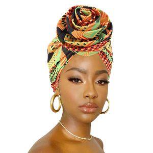 Afrikanischer Druck Stretch Bandana Kopf Wrap Langer Schal Satin Floral Ankara Dashiki Frauen Party Turban Headwear Cap Hair Zubehör