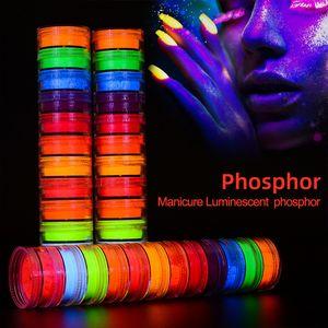 Neon Eyeshadow Powder 12 Colors Set Luminous Nail Glitter Powder Pigment Fluorescent Powder Manicure Nail Art Decorations