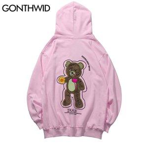 GONTHWID Embroidery Flowers Bear Patchwork Hooded Sweatshirts Pullover Hoodies Streetwear Hip Hop Harajuku 2020 Mens Casual Tops