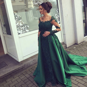Emerald Green Evening Dress Lace Long Sleeves Prom Gown Chiffon Appliques Women Party Dress Mother of Bride Vestidos De Fiesta