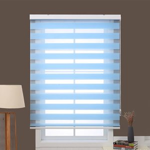 Blue Zebra blinds horizontal simple rolling shutter custom size for window decoration , quality assurance window curtains for living room